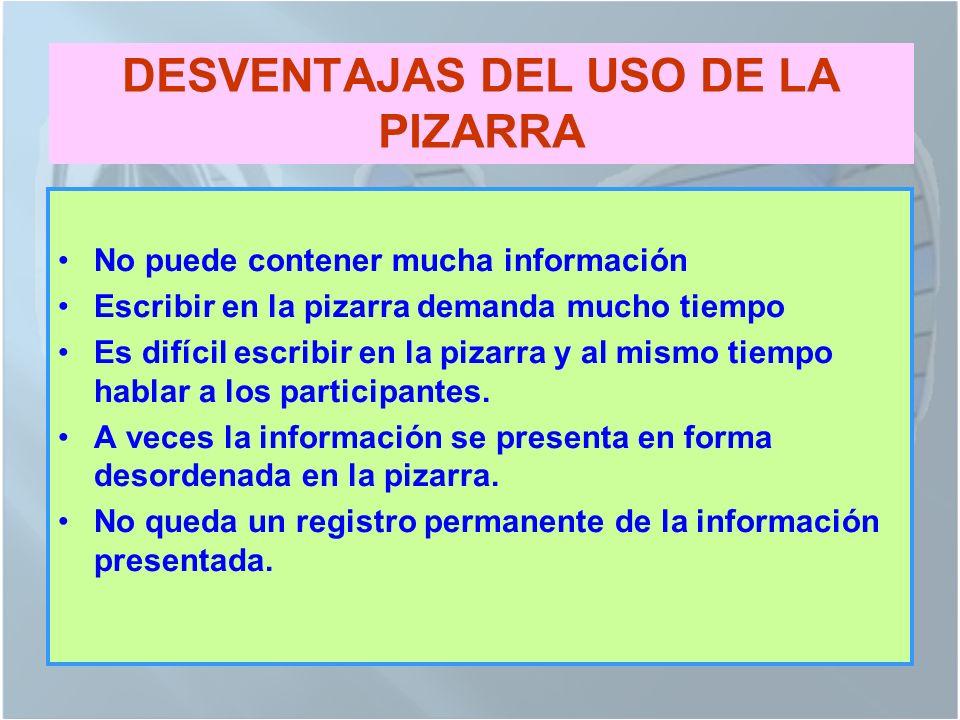DESVENTAJAS DEL USO DE LA PIZARRA