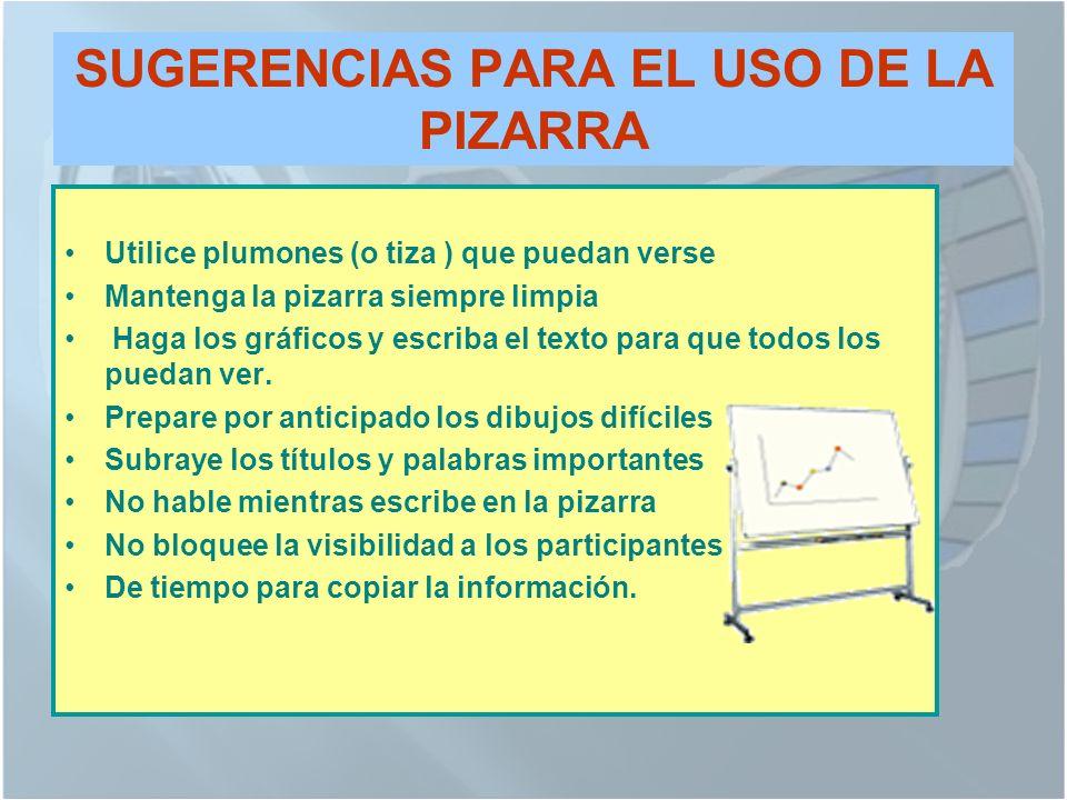SUGERENCIAS PARA EL USO DE LA PIZARRA