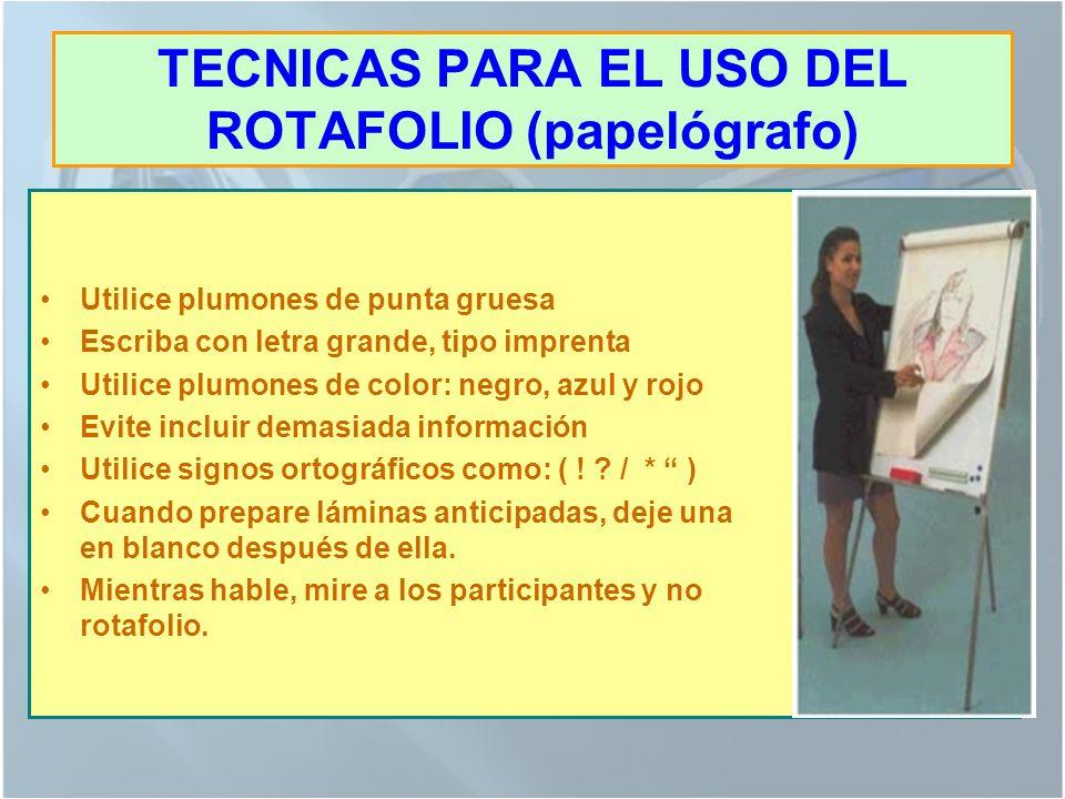 TECNICAS PARA EL USO DEL ROTAFOLIO (papelógrafo)