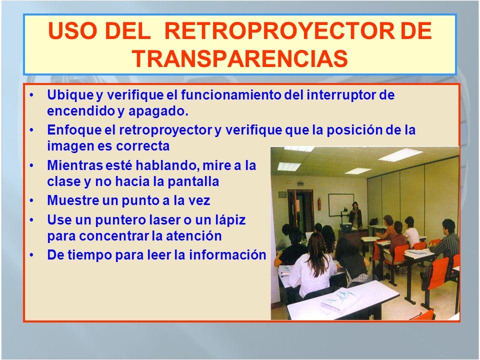 USO DEL RETROPROYECTOR DE TRANSPARENCIAS