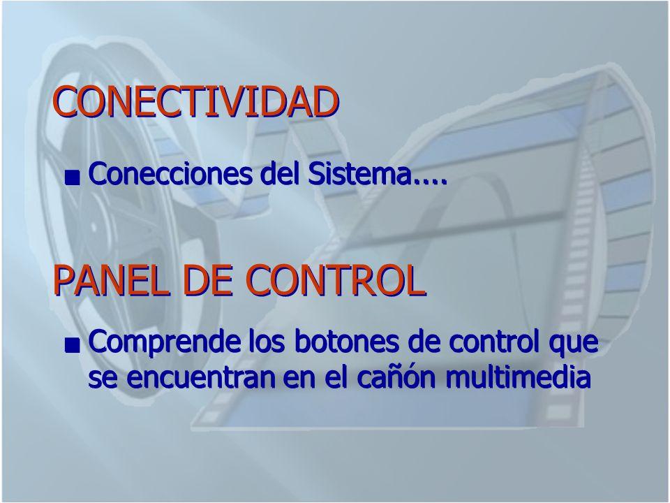 CONECTIVIDAD PANEL DE CONTROL Conecciones del Sistema....