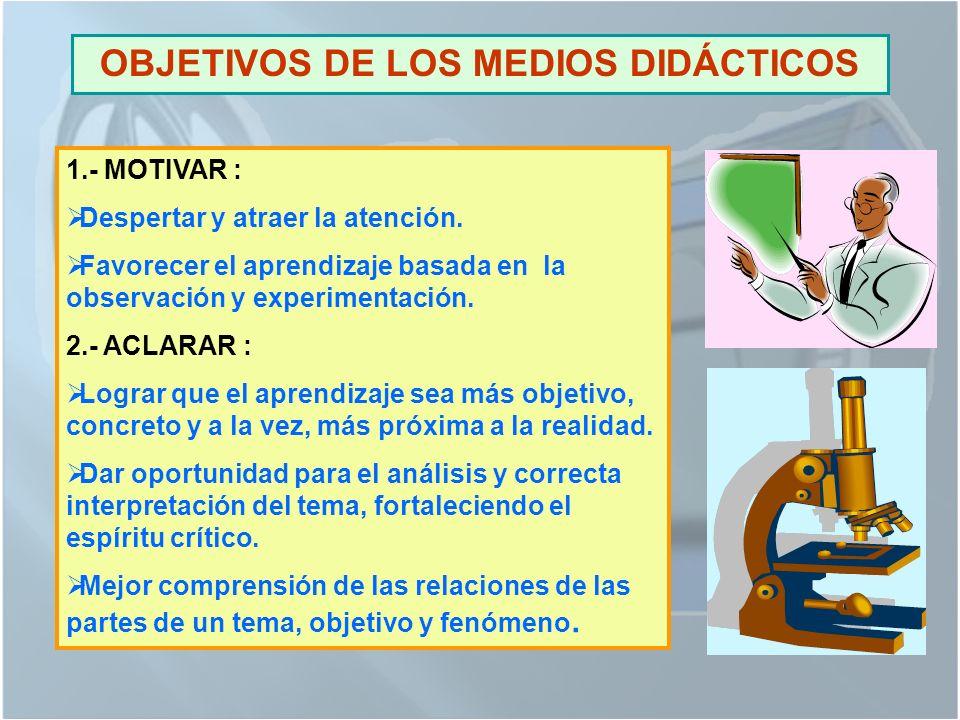 OBJETIVOS DE LOS MEDIOS DIDÁCTICOS
