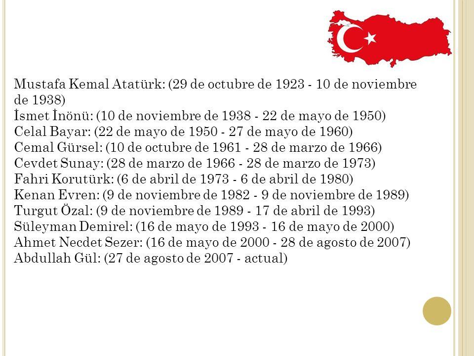 Mustafa Kemal Atatürk: (29 de octubre de 1923 - 10 de noviembre de 1938)