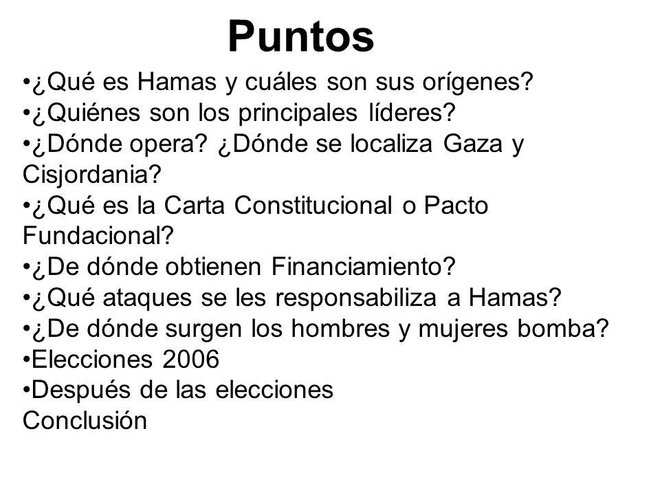 Puntos ¿Qué es Hamas y cuáles son sus orígenes