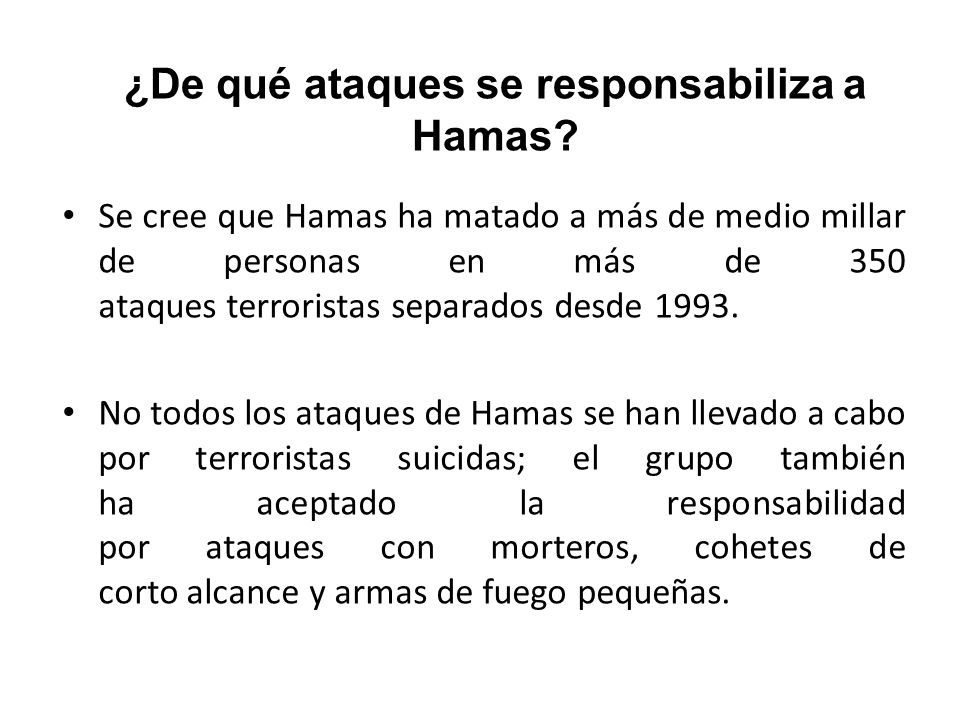 ¿De qué ataques se responsabiliza a Hamas
