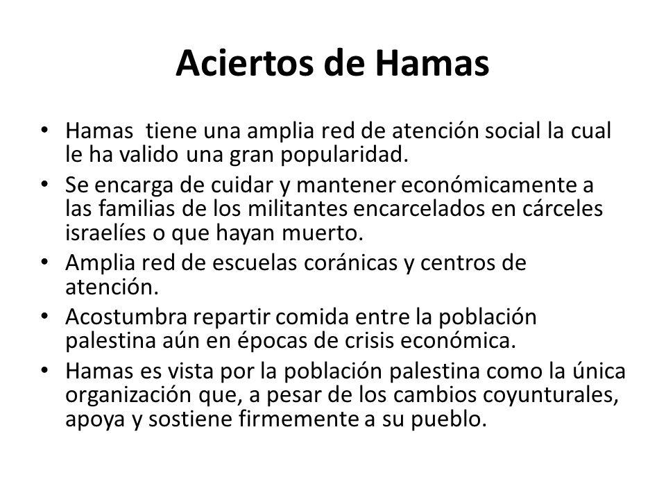 Aciertos de Hamas Hamas tiene una amplia red de atención social la cual le ha valido una gran popularidad.