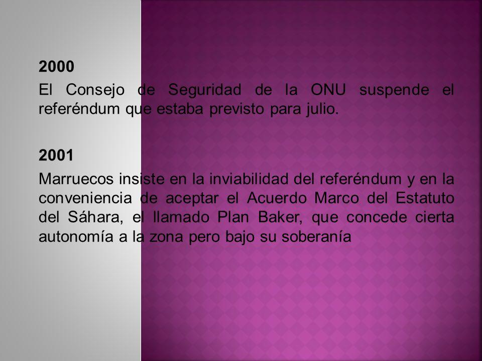 2000 El Consejo de Seguridad de la ONU suspende el referéndum que estaba previsto para julio. 2001.