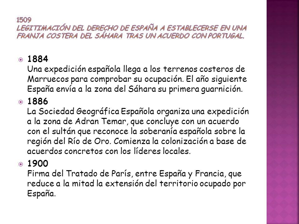 1509 Legitimación del derecho de España a establecerse en una franja costera del Sáhara tras un acuerdo con Portugal.