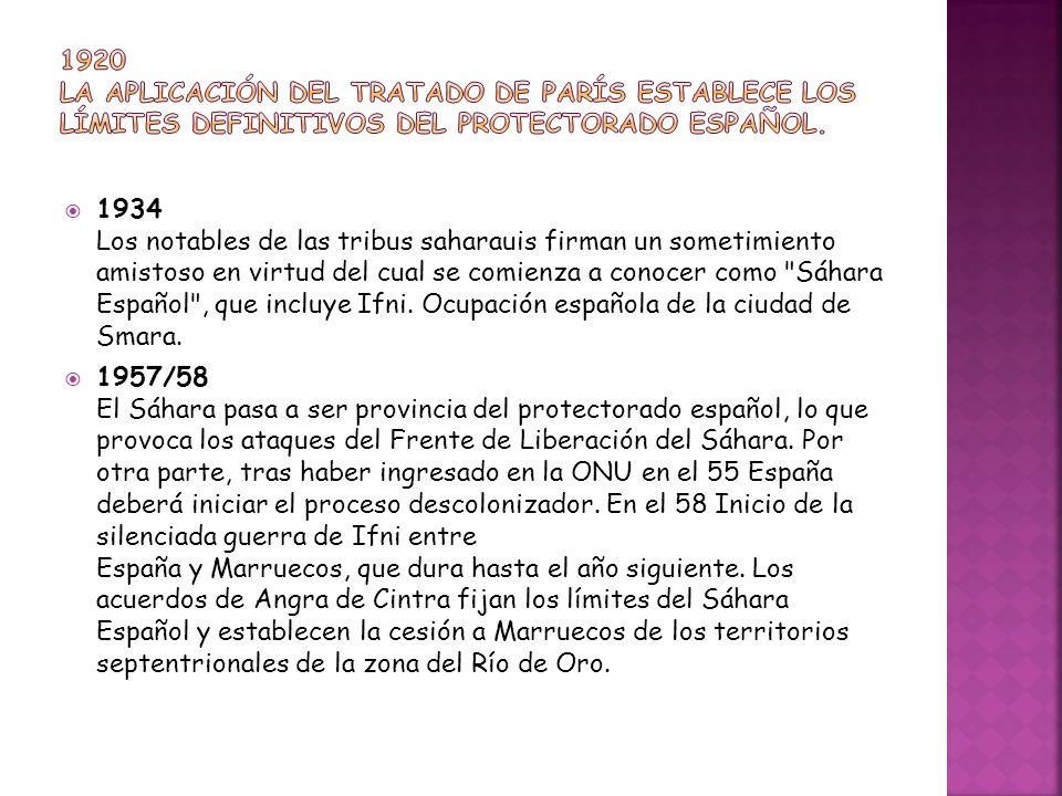 1920 La aplicación del Tratado de París establece los límites definitivos del Protectorado español.
