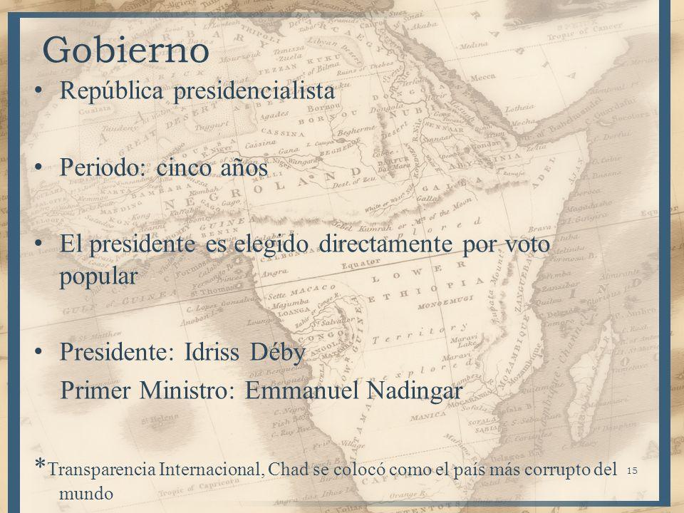 Gobierno República presidencialista Periodo: cinco años