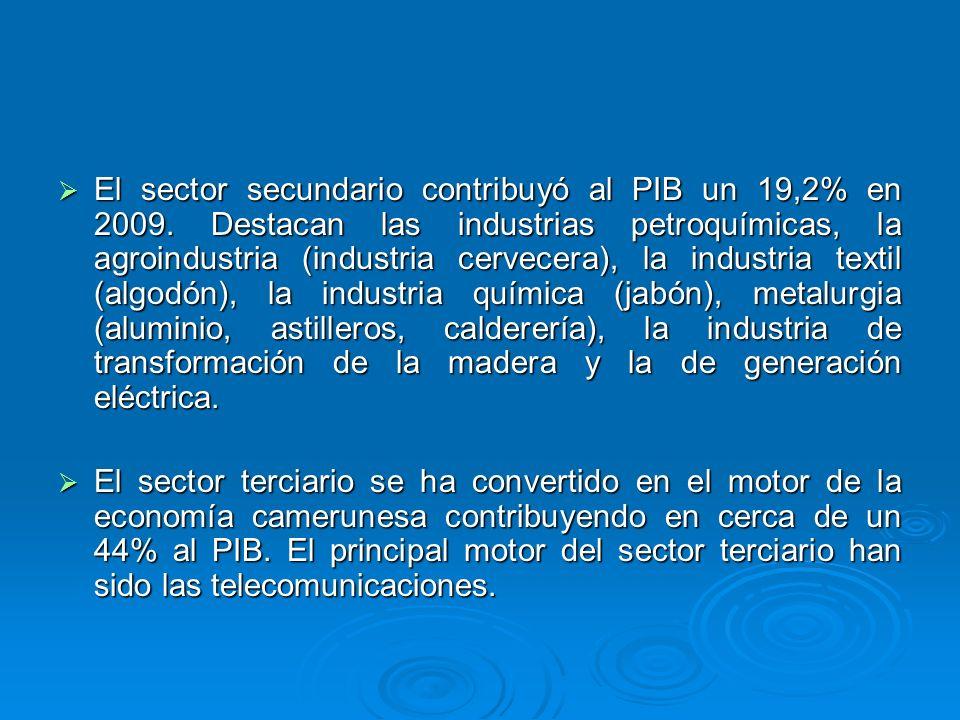 El sector secundario contribuyó al PIB un 19,2% en 2009