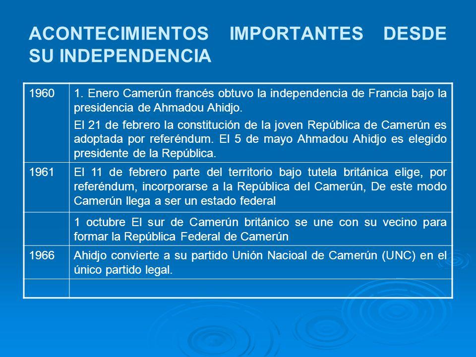 ACONTECIMIENTOS IMPORTANTES DESDE SU INDEPENDENCIA