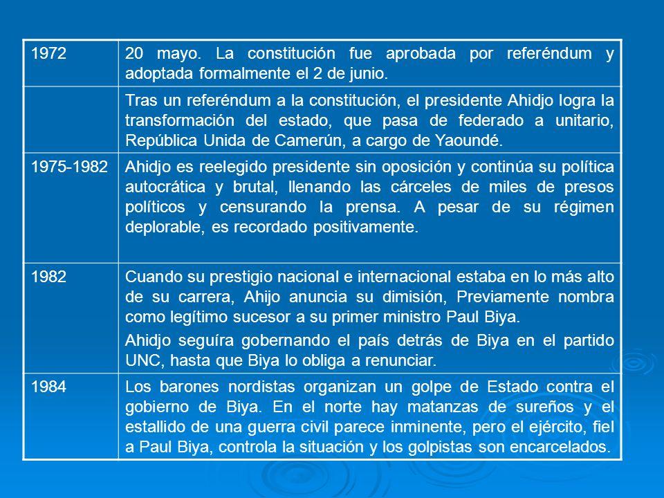 1972 20 mayo. La constitución fue aprobada por referéndum y adoptada formalmente el 2 de junio.