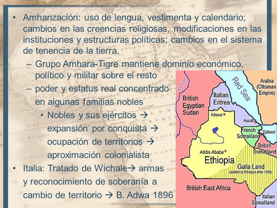 Amharización: uso de lengua, vestimenta y calendario; cambios en las creencias religiosas, modificaciones en las instituciones y estructuras políticas; cambios en el sistema de tenencia de la tierra.
