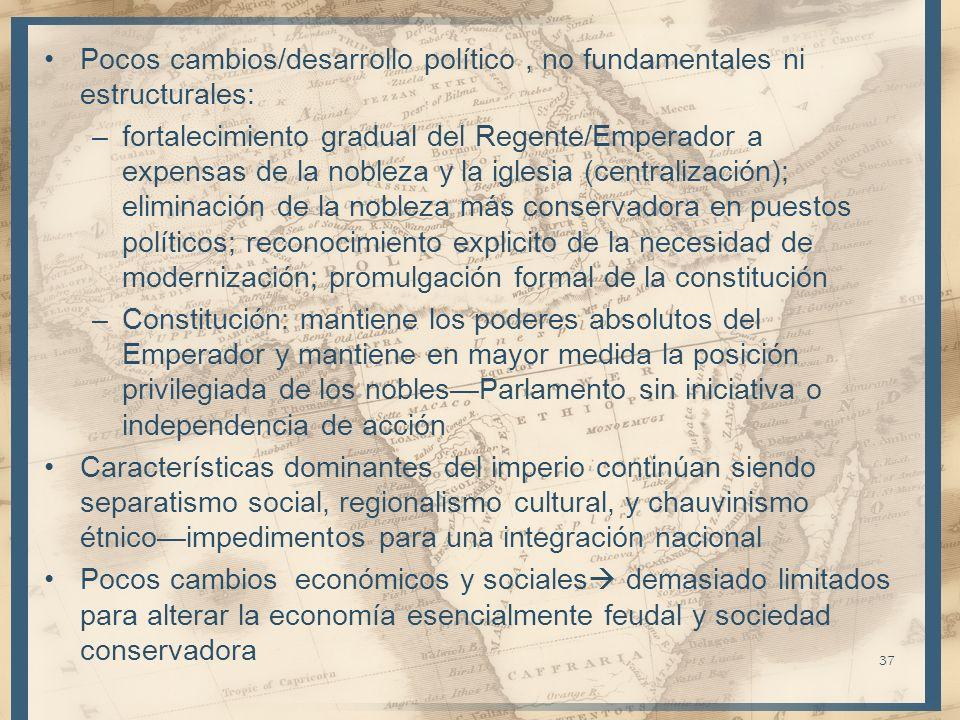 Pocos cambios/desarrollo político , no fundamentales ni estructurales:
