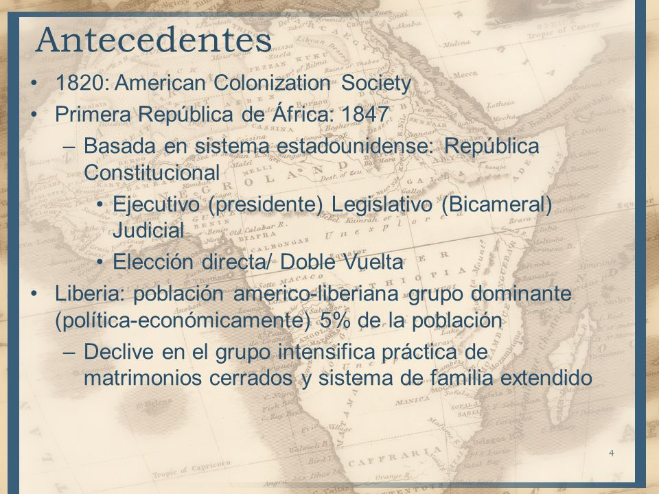 Antecedentes 1820: American Colonization Society
