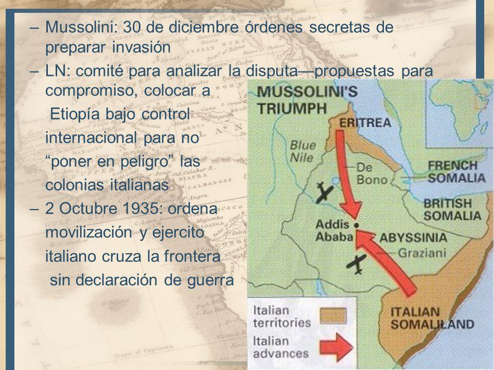 Mussolini: 30 de diciembre órdenes secretas de preparar invasión