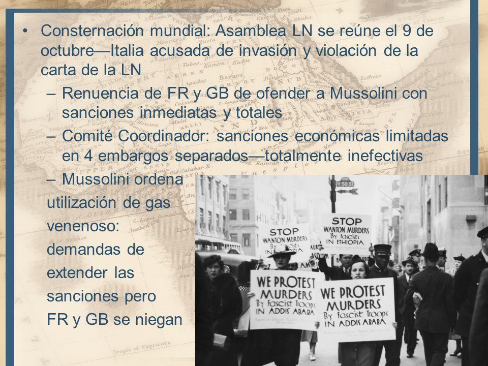 Consternación mundial: Asamblea LN se reúne el 9 de octubre—Italia acusada de invasión y violación de la carta de la LN