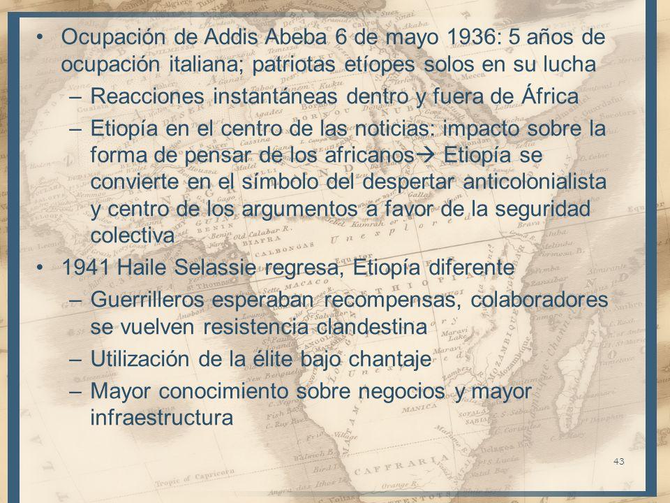 Ocupación de Addis Abeba 6 de mayo 1936: 5 años de ocupación italiana; patriotas etíopes solos en su lucha