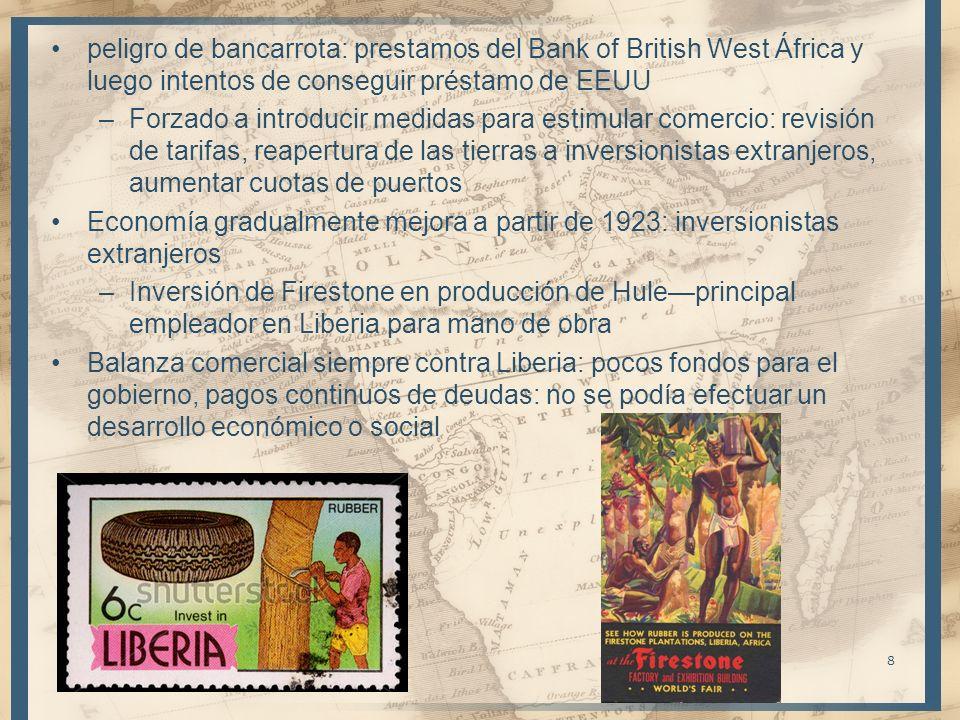 peligro de bancarrota: prestamos del Bank of British West África y luego intentos de conseguir préstamo de EEUU