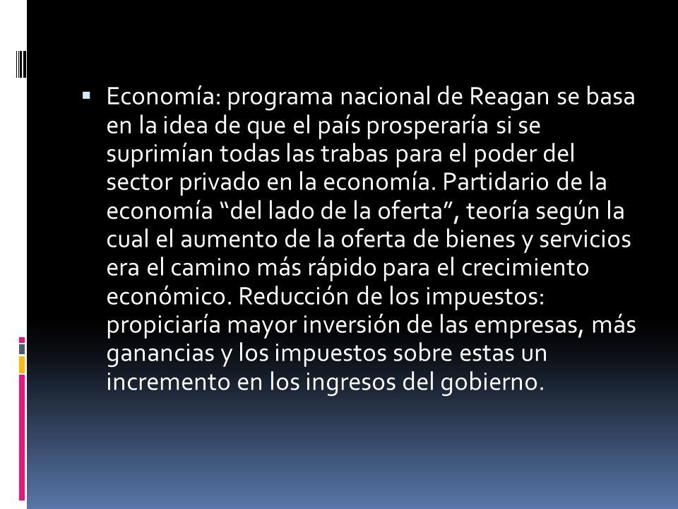 Economía: programa nacional de Reagan se basa en la idea de que el país prosperaría si se suprimían todas las trabas para el poder del sector privado en la economía.