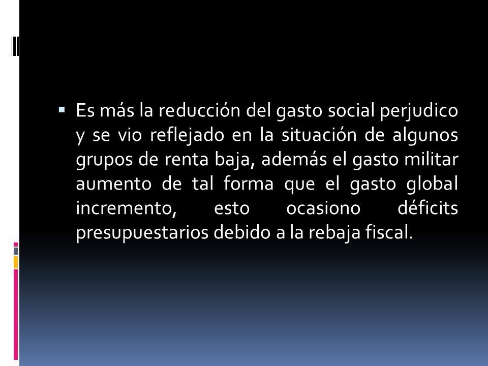 Es más la reducción del gasto social perjudico y se vio reflejado en la situación de algunos grupos de renta baja, además el gasto militar aumento de tal forma que el gasto global incremento, esto ocasiono déficits presupuestarios debido a la rebaja fiscal.