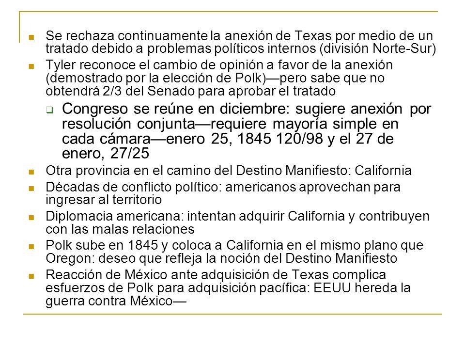 Se rechaza continuamente la anexión de Texas por medio de un tratado debido a problemas políticos internos (división Norte-Sur)