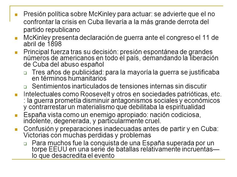 Presión política sobre McKinley para actuar: se advierte que el no confrontar la crisis en Cuba llevaría a la más grande derrota del partido republicano