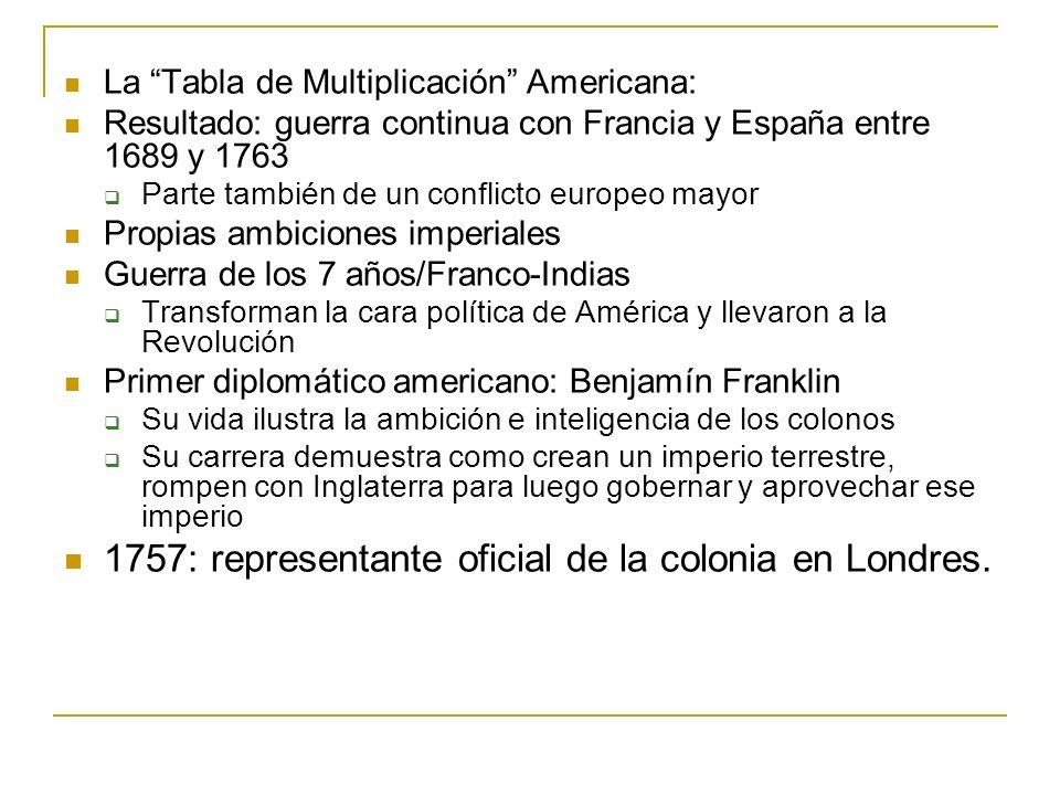 1757: representante oficial de la colonia en Londres.