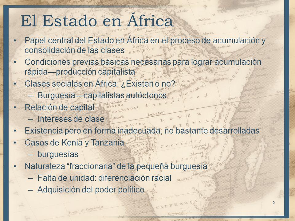 El Estado en África Papel central del Estado en África en el proceso de acumulación y consolidación de las clases.