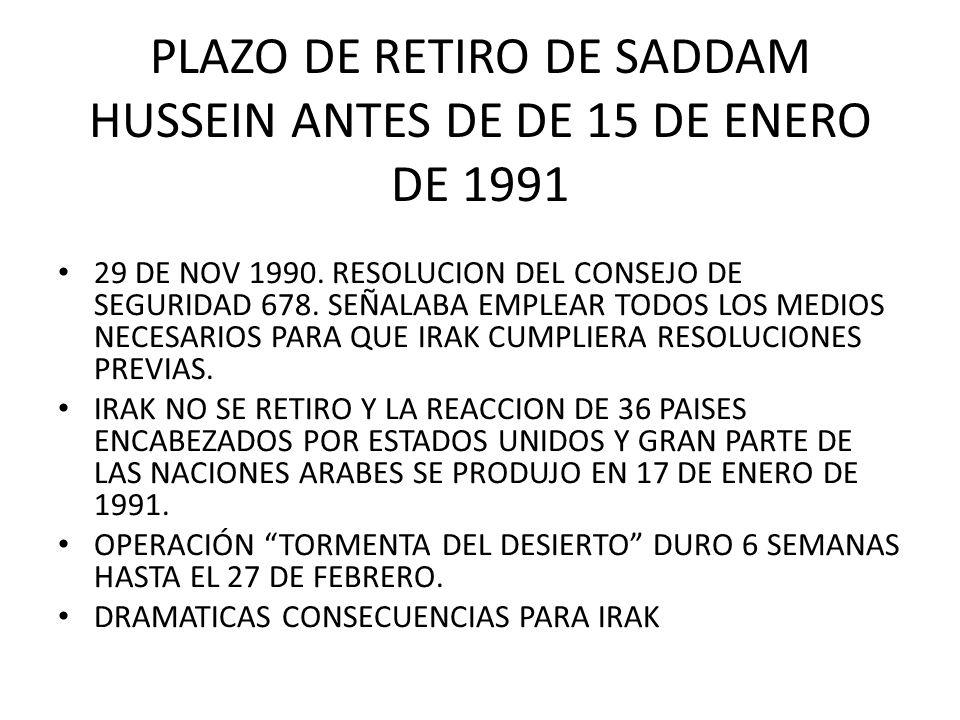 PLAZO DE RETIRO DE SADDAM HUSSEIN ANTES DE DE 15 DE ENERO DE 1991
