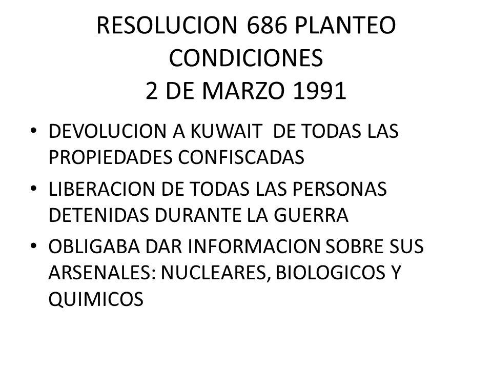 RESOLUCION 686 PLANTEO CONDICIONES 2 DE MARZO 1991