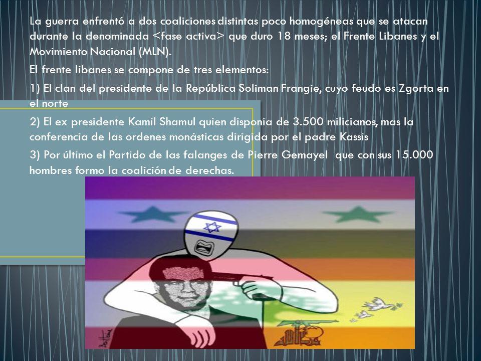 La guerra enfrentó a dos coaliciones distintas poco homogéneas que se atacan durante la denominada <fase activa> que duro 18 meses; el Frente Libanes y el Movimiento Nacional (MLN).