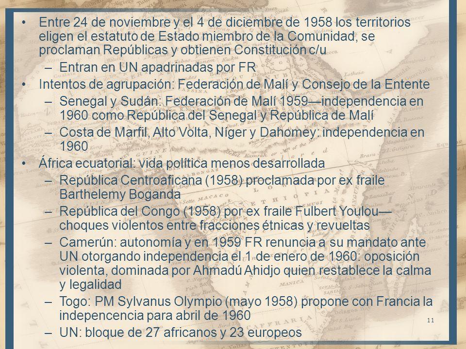 Entre 24 de noviembre y el 4 de diciembre de 1958 los territorios eligen el estatuto de Estado miembro de la Comunidad, se proclaman Repúblicas y obtienen Constitución c/u