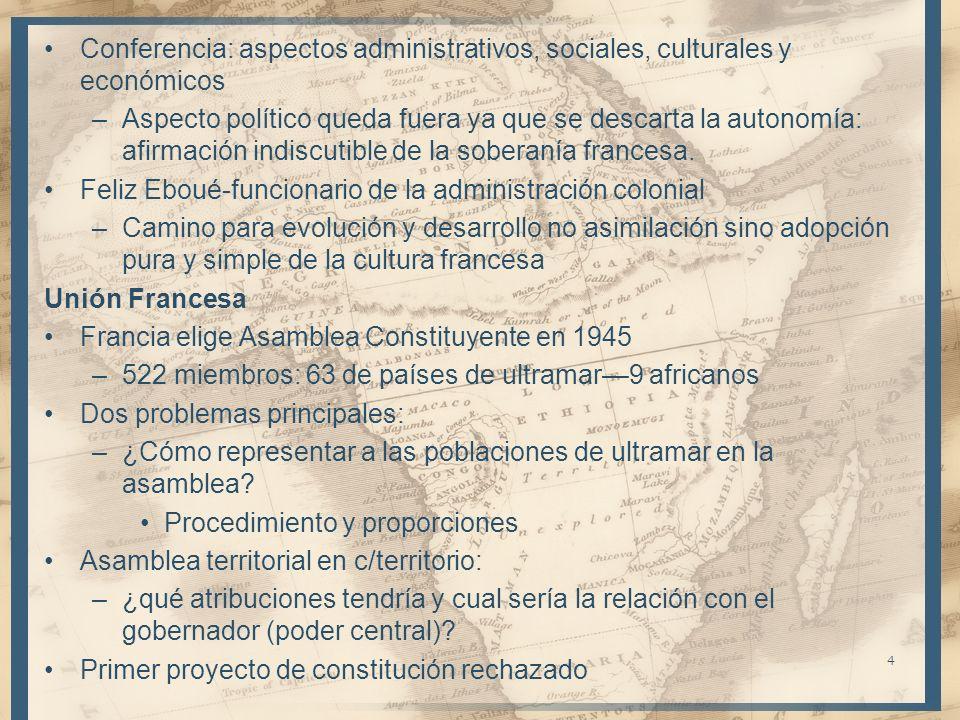 Conferencia: aspectos administrativos, sociales, culturales y económicos