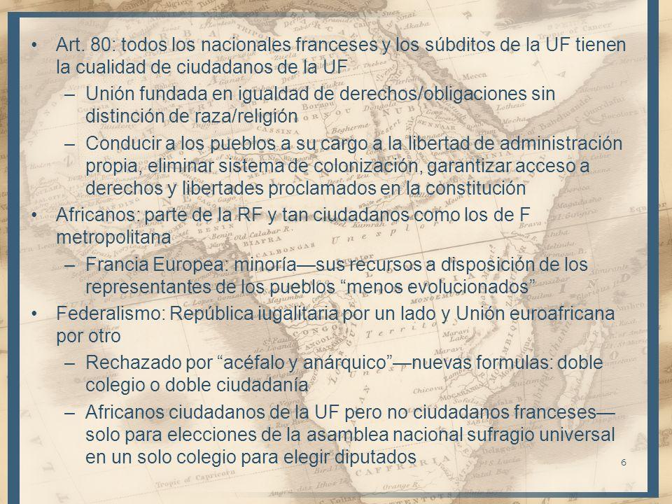 Art. 80: todos los nacionales franceses y los súbditos de la UF tienen la cualidad de ciudadanos de la UF