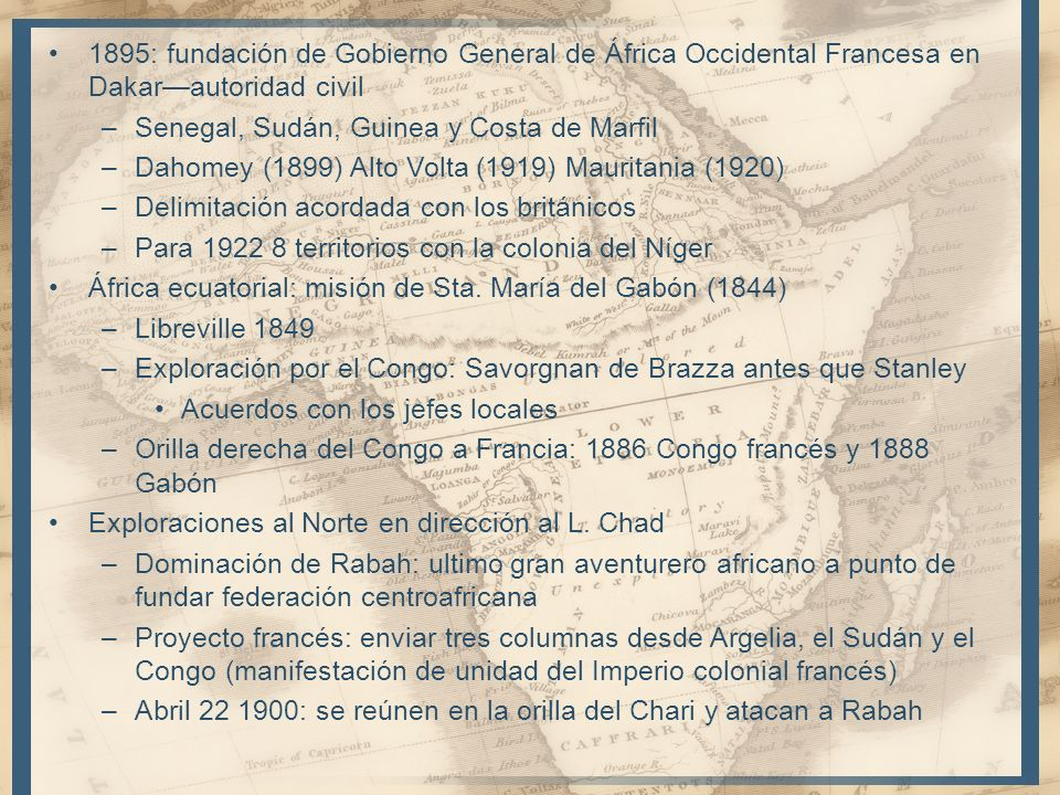1895: fundación de Gobierno General de África Occidental Francesa en Dakar—autoridad civil