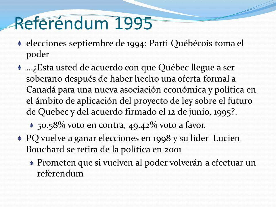Referéndum 1995 elecciones septiembre de 1994: Parti Québécois toma el poder.