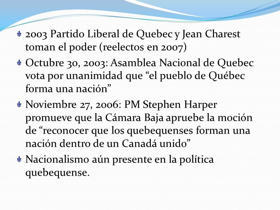 2003 Partido Liberal de Quebec y Jean Charest toman el poder (reelectos en 2007)