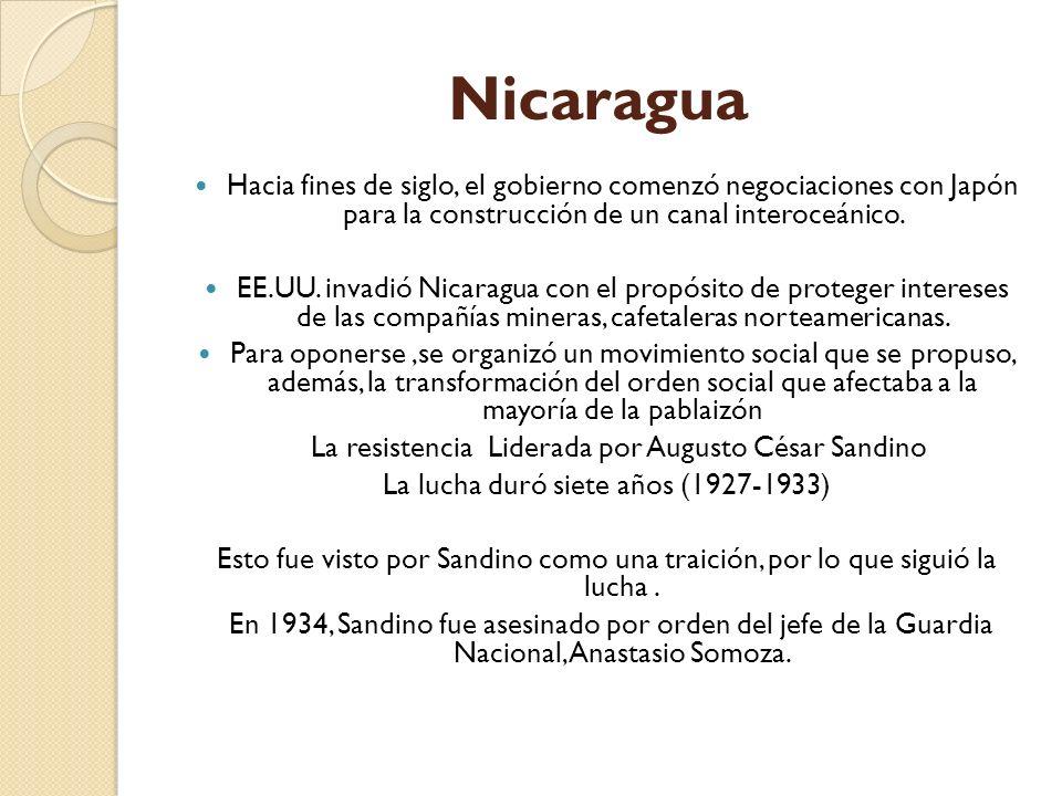 Nicaragua Hacia fines de siglo, el gobierno comenzó negociaciones con Japón para la construcción de un canal interoceánico.