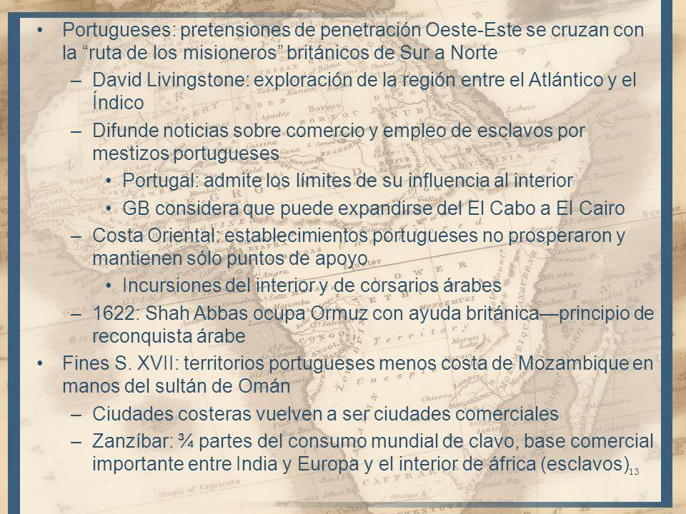 Portugueses: pretensiones de penetración Oeste-Este se cruzan con la ruta de los misioneros británicos de Sur a Norte