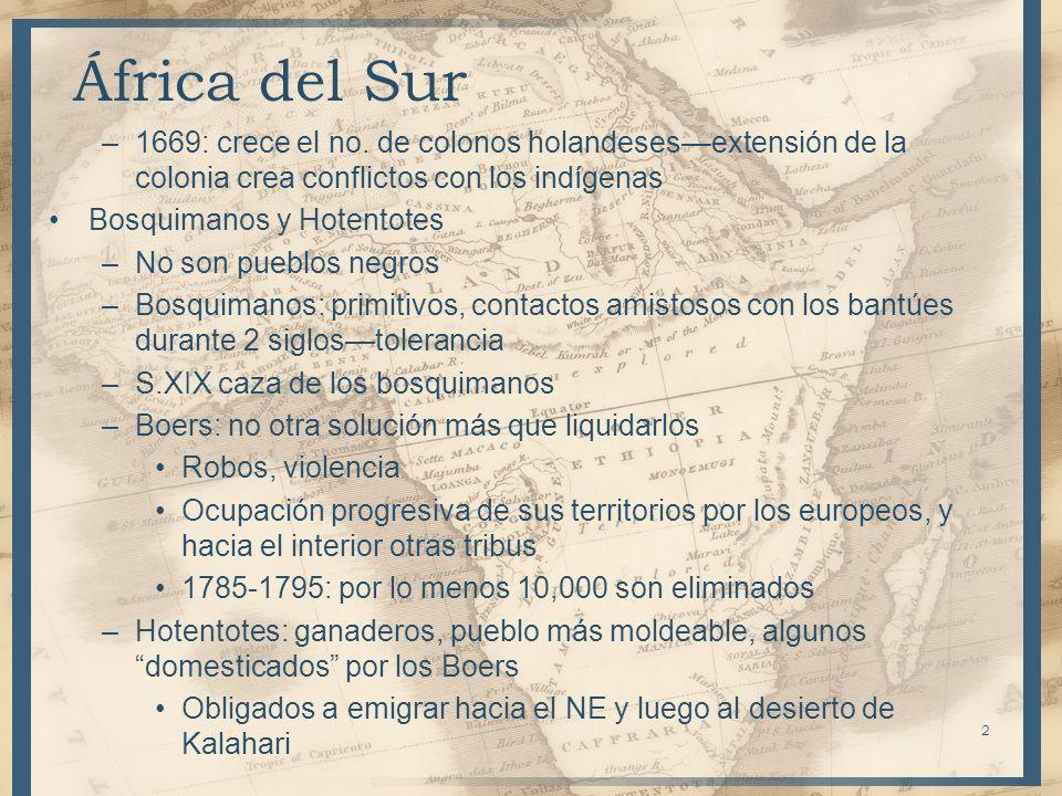 África del Sur 1669: crece el no. de colonos holandeses—extensión de la colonia crea conflictos con los indígenas.