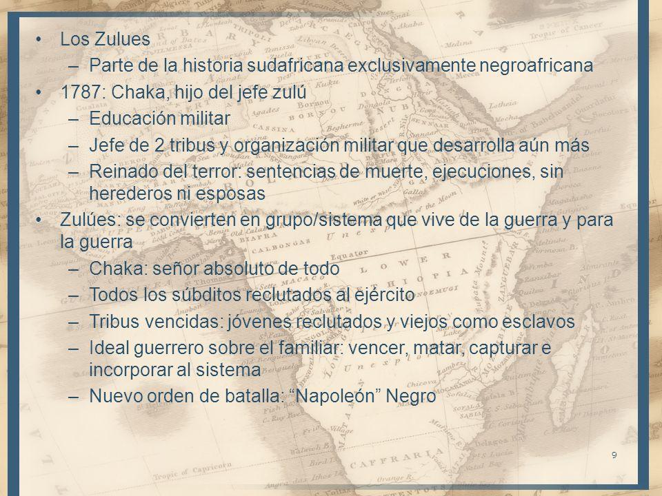 Los Zulues Parte de la historia sudafricana exclusivamente negroafricana. 1787: Chaka, hijo del jefe zulú.