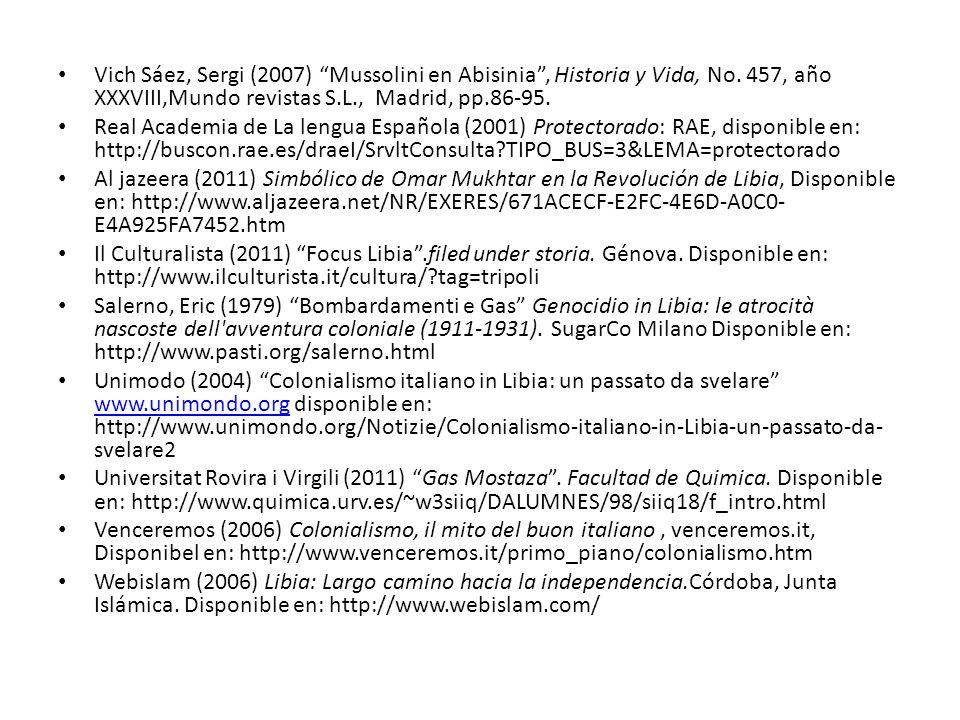Vich Sáez, Sergi (2007) Mussolini en Abisinia , Historia y Vida, No