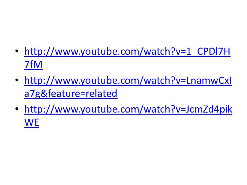 http://www.youtube.com/watch v=1_CPDl7H7fM http://www.youtube.com/watch v=LnamwCxIa7g&feature=related.