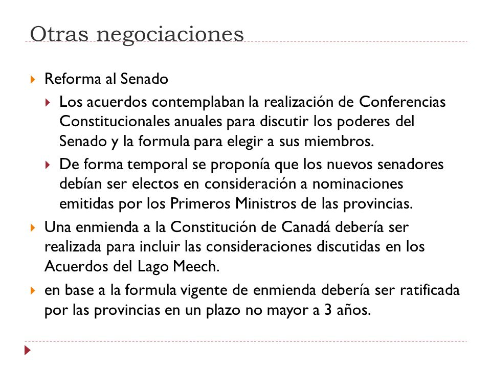 Otras negociaciones Reforma al Senado