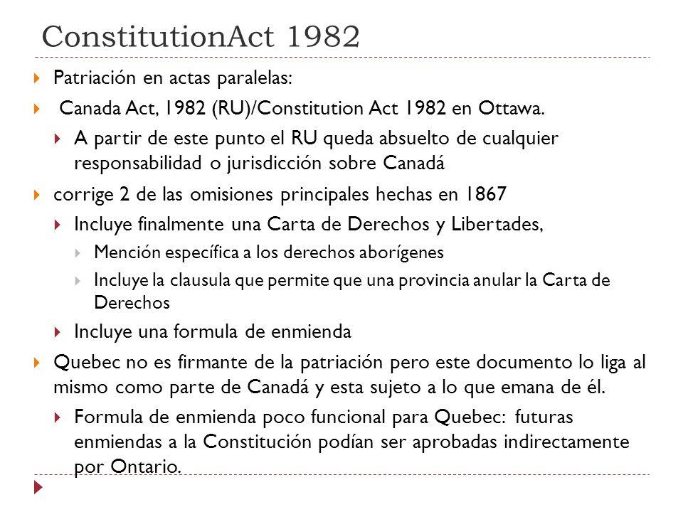 ConstitutionAct 1982 Patriación en actas paralelas: