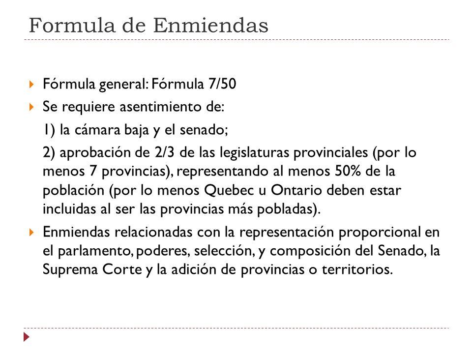 Formula de Enmiendas Fórmula general: Fórmula 7/50