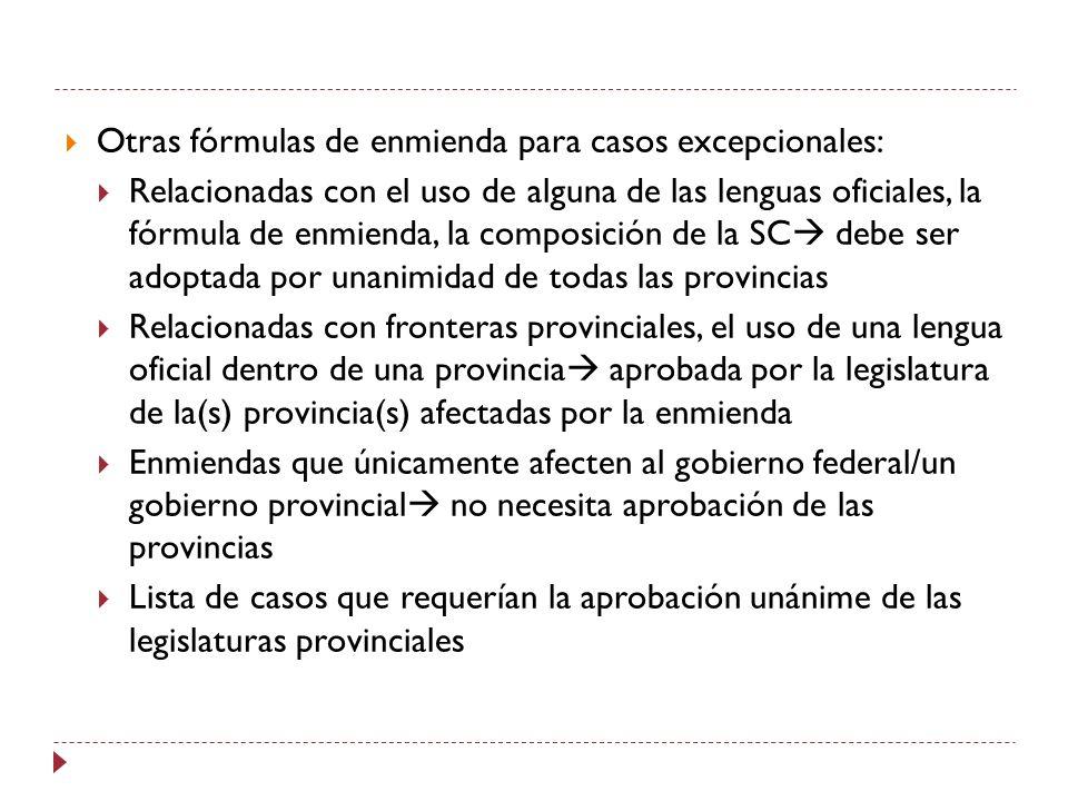 Otras fórmulas de enmienda para casos excepcionales: