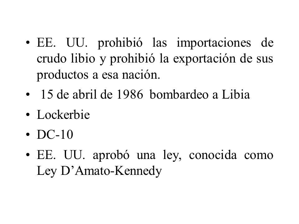 EE. UU. prohibió las importaciones de crudo libio y prohibió la exportación de sus productos a esa nación.